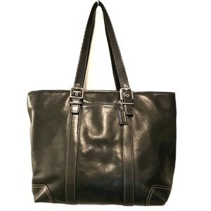 COACH XL Black Leather Hamptons Travel Multi Tote